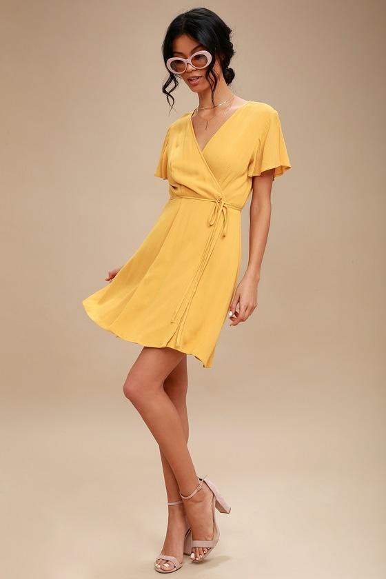 416a1e0058c Cute Mustard Yellow Dress - Wrap Dress - Short Sleeve Dress