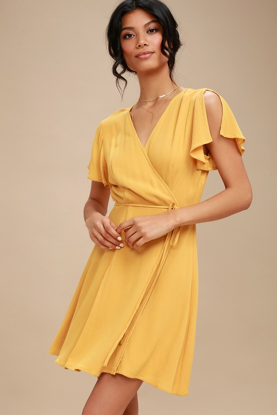 57eea071a77 Cute Mustard Yellow Dress - Wrap Dress - Short Sleeve Dress