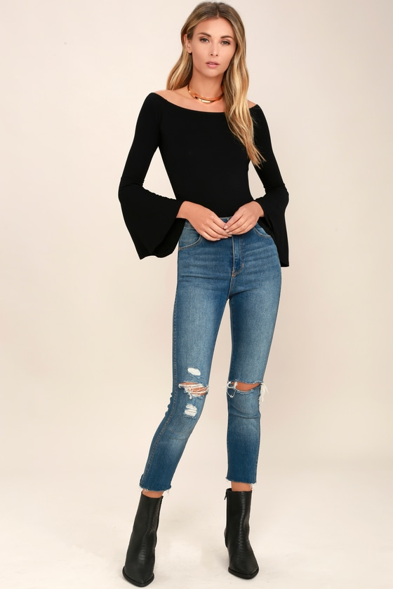 2935cbd8dd8aa Chic Black Top - Long Sleeve Top - Off-the-Shoulder Top -  26.00