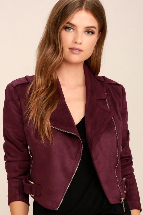 d5944d475917 Cool Burgundy Moto Jacket - Vegan Suede Moto Jacket - Zipper Jacket - $69.00