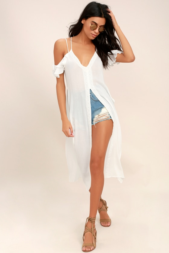 4eb49664a4dd51 Boho White Dress - White Swim Cover-Up - Cover-Up