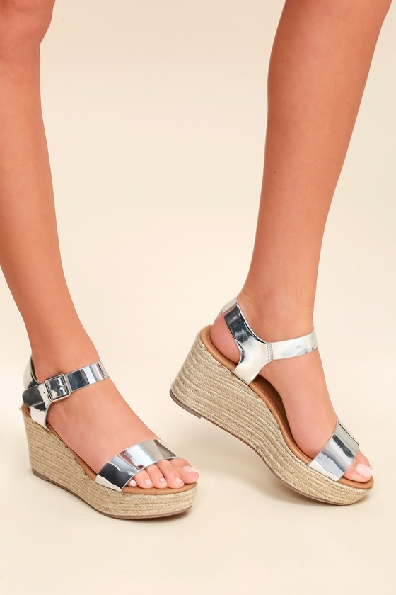 Loraine Shiny Silver Espadrille Wedges