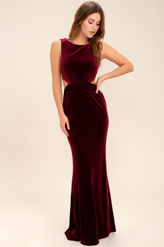1950s Prom Dresses & Party Dresses Reach Out Burgundy Velvet Maxi Dress - Lulus $75.00 AT vintagedancer.com