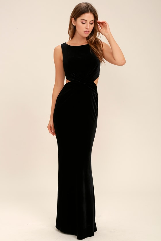 Lovely Black Dress - Velvet Dress - Maxi