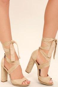 534f5098d120 Cute Natural Heels - Ankle Strap Heels - Tan Leather Heels