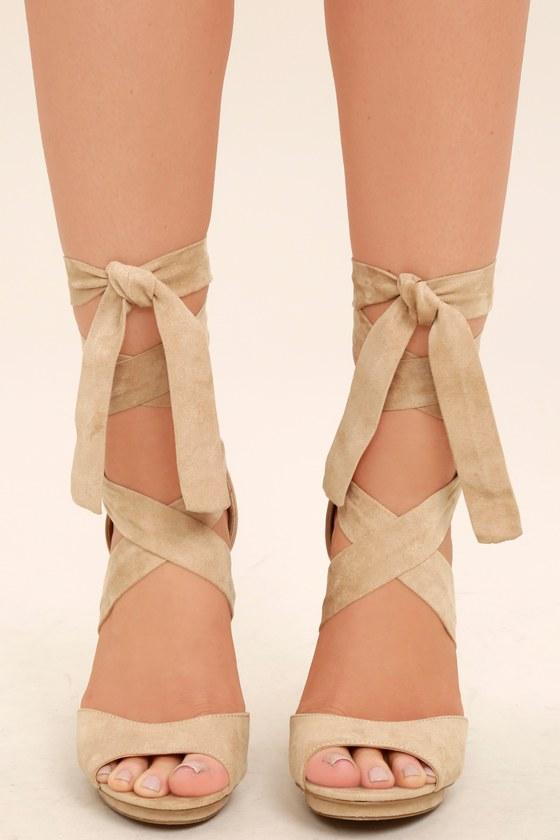 dbbd3afe48a Lovely Natural Heels - Lace-Up Heels - Vegan Suede Heels
