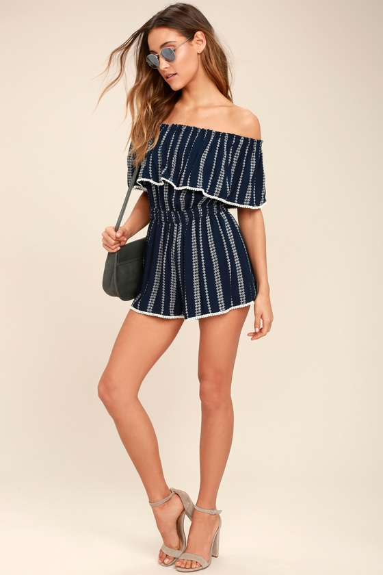 5e884799a198 See Ya There Navy Blue Print Off-the-Shoulder Romper