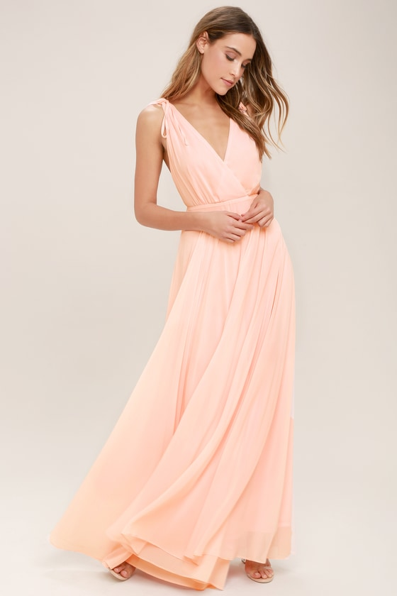 Blush Pink Backless Maxi Dress with Wide Tie Straps