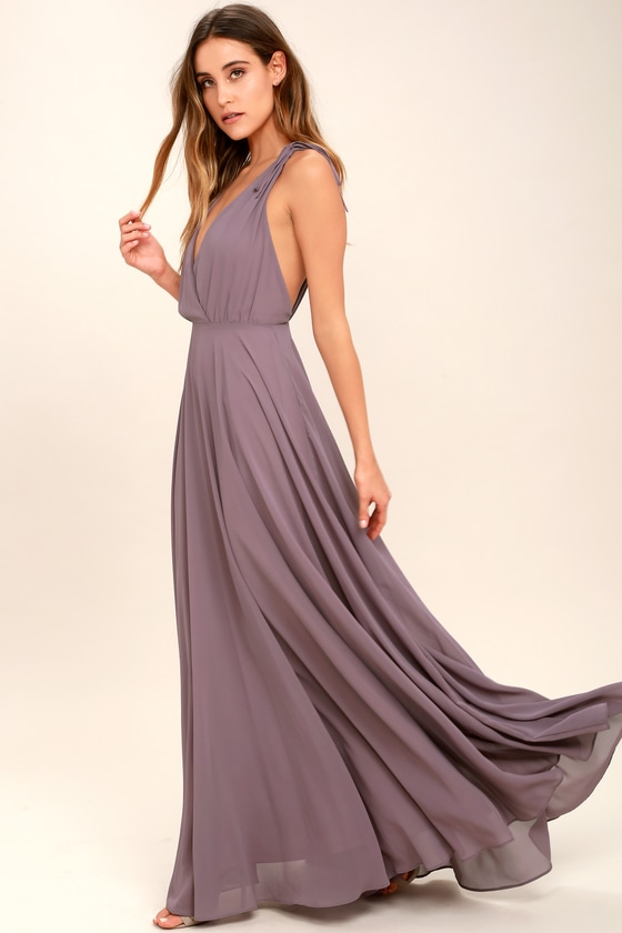 Lovely Dusty Purple Maxi Dress Backless Maxi Dress