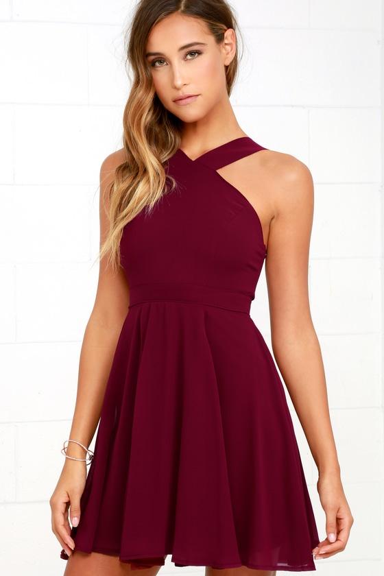 short fun burgundy dresses