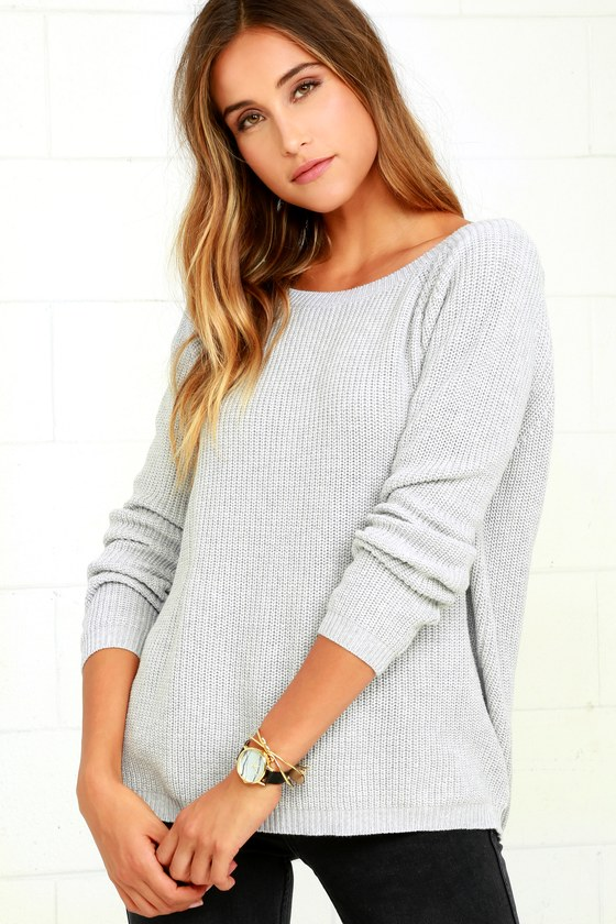 89bc49cfb0f75 Light Grey Sweater - Knit Top - Backless Sweater - V-Back Sweater