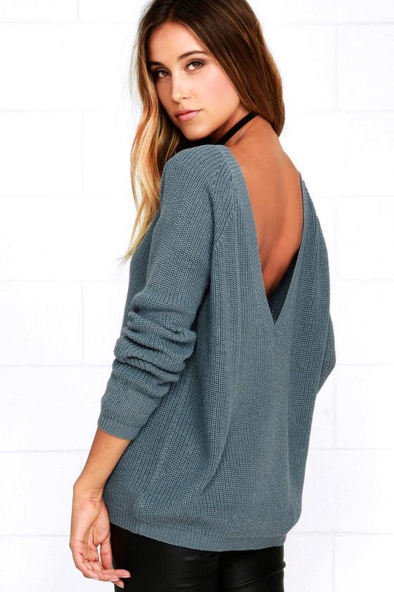 Just For You Slate Blue Backless Sweater - Lulus