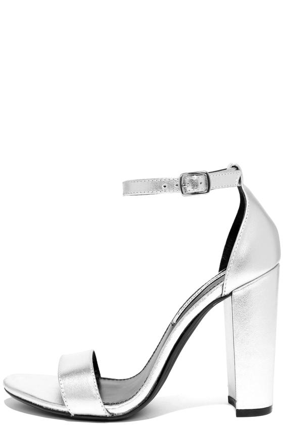 4a933b865462 Cute Silver Heels - Leather Heels - Ankle Strap Heels - $89.00