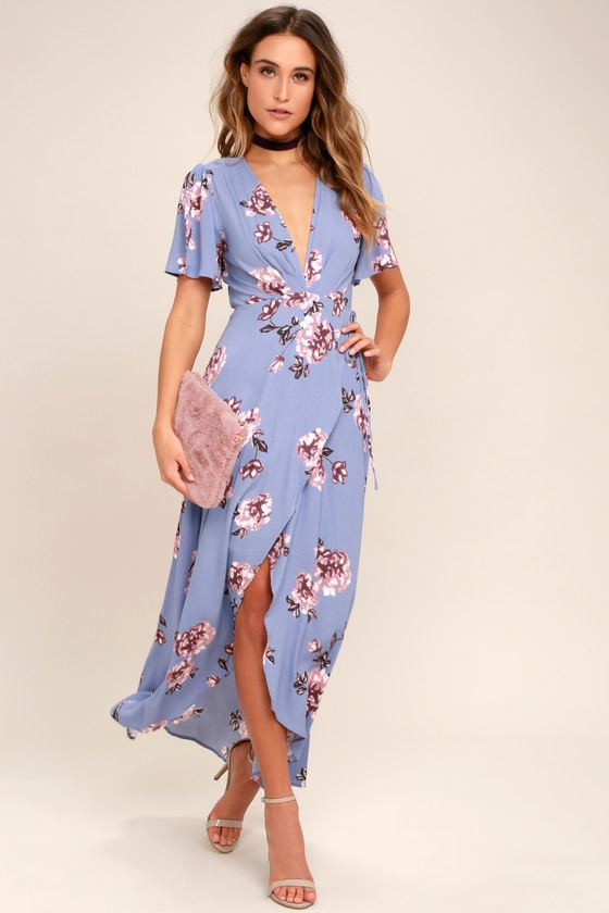 Astr The Label Selma Periwinkle Floral Print Dress