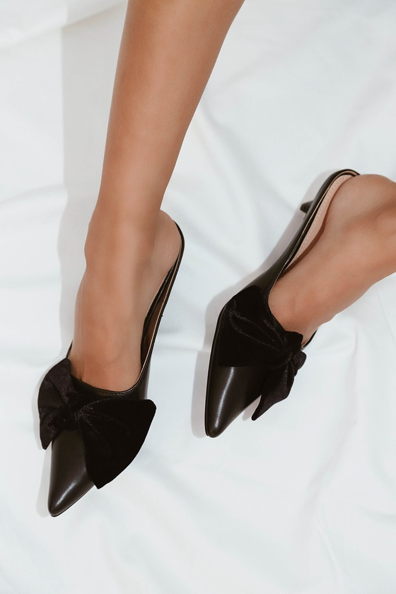 8190bf3a3ac Chic Black Mules - Kitten Heel Mules - Bow Heels