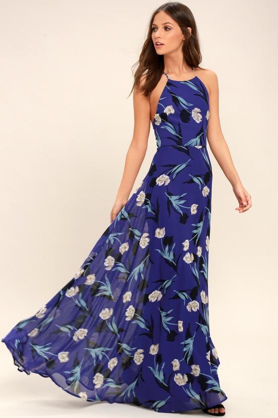 39189dc47ad Royal Blue Floral Print Dress - Lace-Up Dress - Maxi Dress