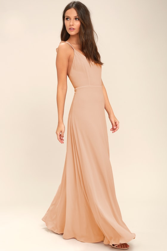 9d433e3c11c2 Lovely Blush Maxi Dress - Sleeveless Dress - Bridesmaid Dress
