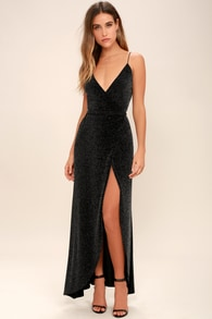738bb6e550168c Lovely Black Floral Print Dress - Maxi Dress - Long Sleeve Dress