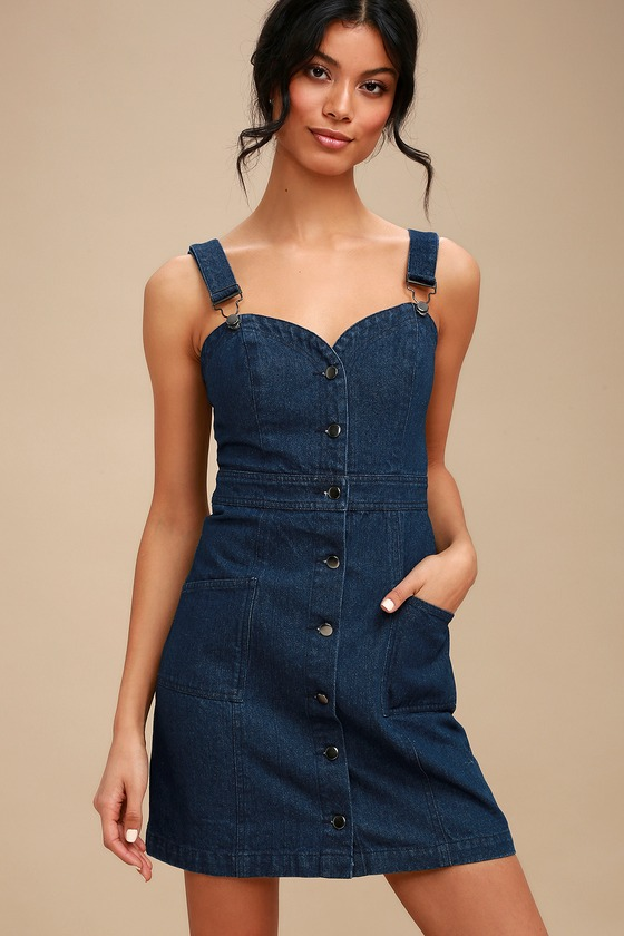 8c4a42398a76 Cute Dark Wash Denim Dress - Overall Dress - Pinafore Dress