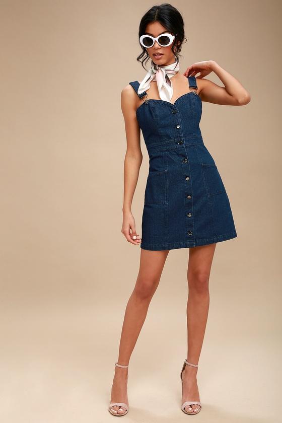 768fa356936 Cute Dark Wash Denim Dress - Overall Dress - Pinafore Dress
