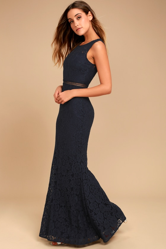 Music of the Heart Navy Blue Lace Maxi Dress - Lulus
