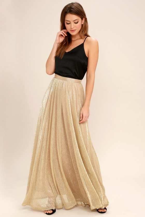 eb493bbf740322 Chic Gold Maxi Skirt - Metallic Skirt - Metallic Maxi Skirt