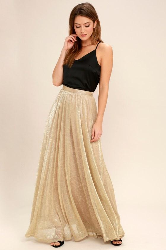 e89fb0cd12 Chic Gold Maxi Skirt - Metallic Skirt - Metallic Maxi Skirt