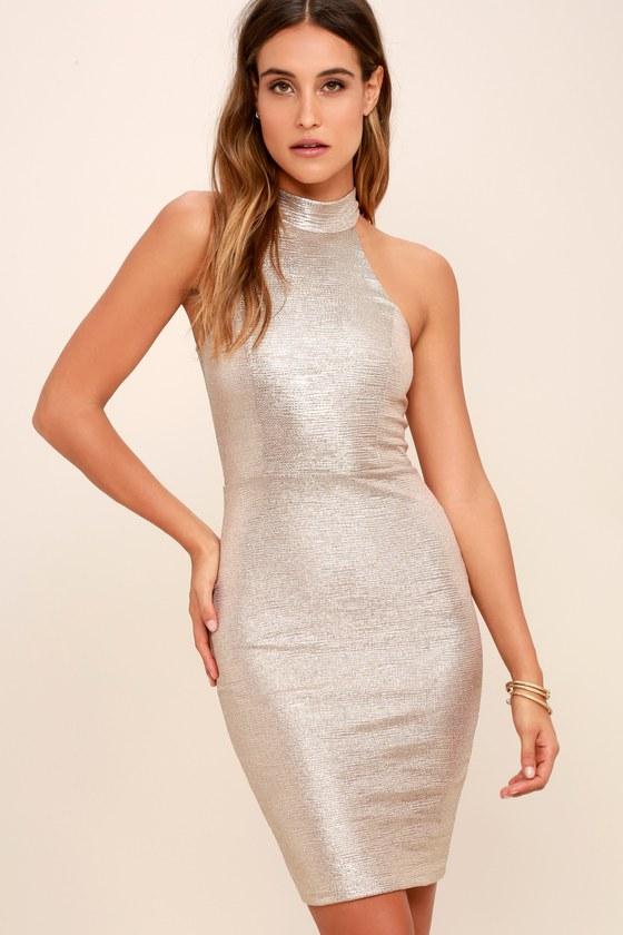 Sexy Gold Dress - Bodycon Dress - Mock Neck Dress - $58.00