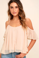 bbb6570c650e Cute Blush Pink Top - Off-the-Shoulder Top - Flora Print Top
