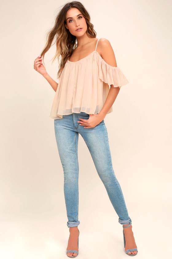 0eef7d6b8d10b Lovely Blush Pink Top - Off-The-Shoulder Top - Cold Shoulder Top ...