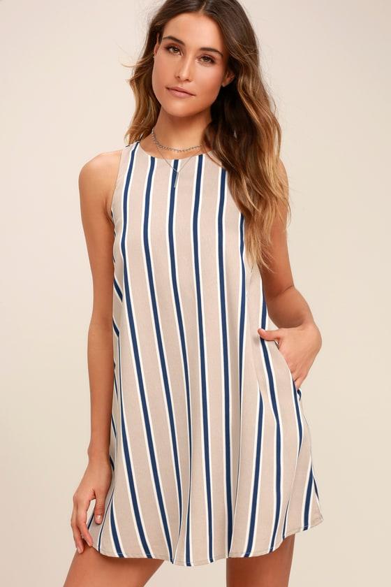 edd96a4ad033d7 Chic Beige Striped Dress - Sleeveless Shift Dress