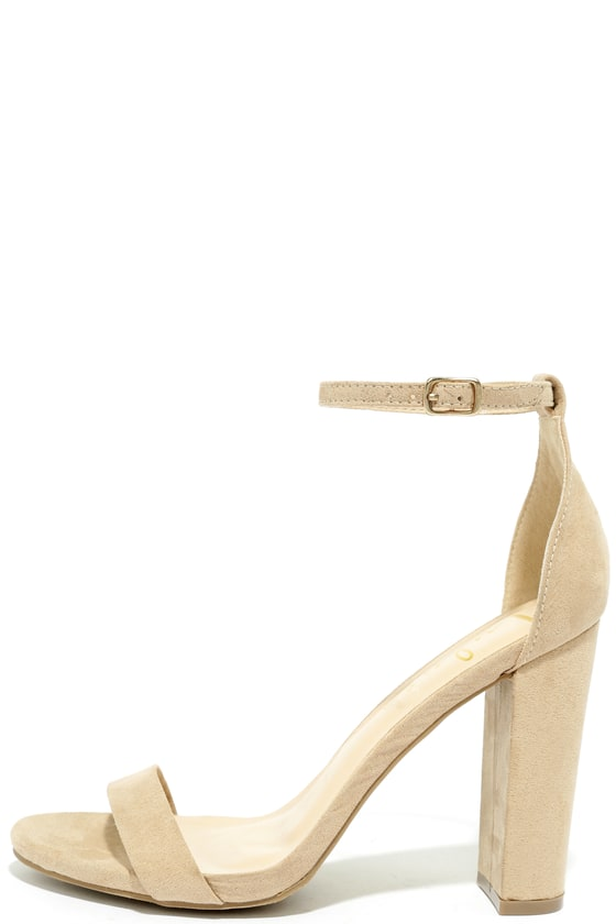 6e50ab46b87 Sexy Nude Suede Heels - Ankle Strap Heel - Single Sole Heels