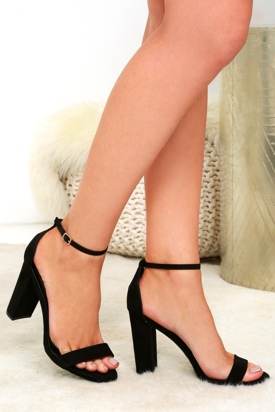 6ba791e629 Black Suede Heels - Ankle Strap Heels - Single Sole Heels