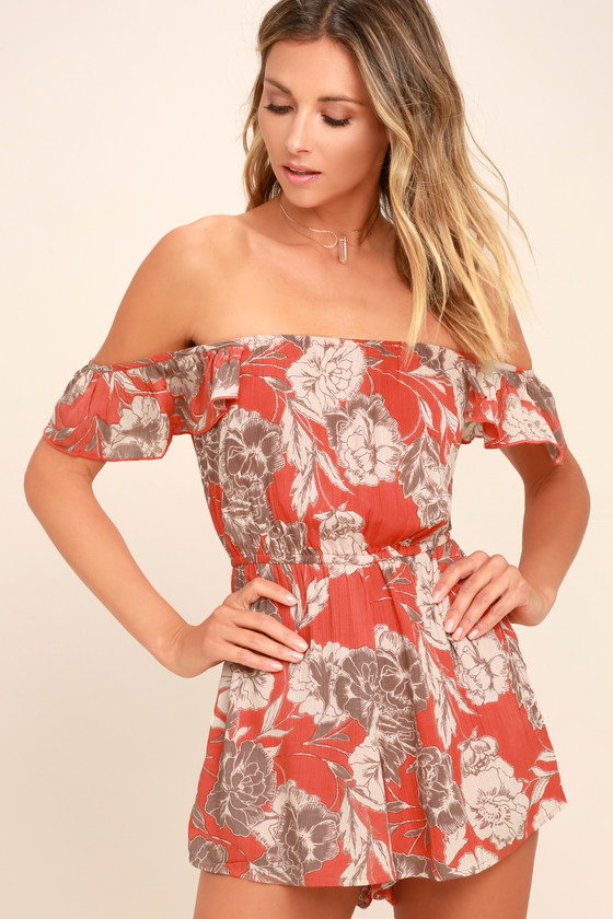 Kiss & Tell Coral Red Floral Print Romper by Amuse Society