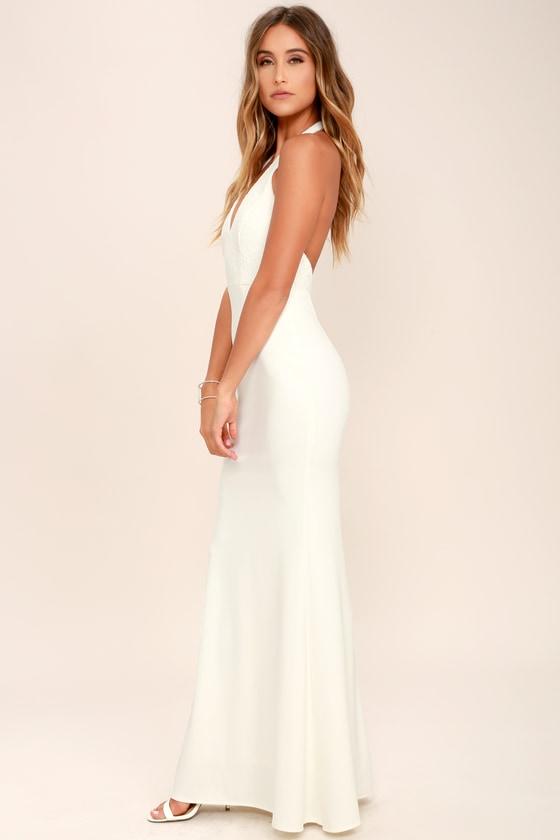 e9c540f480e8 Lovely Ivory Dress - Halter Dress - Maxi Dress - Lace Dress
