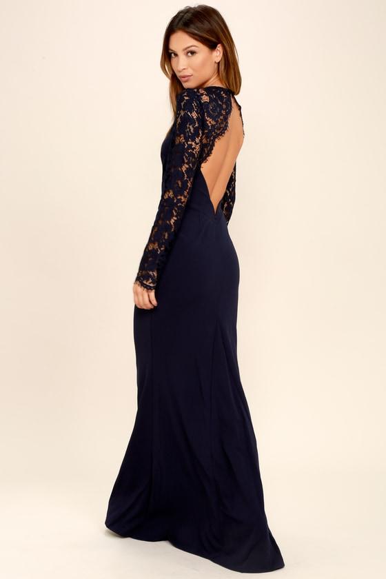 Lovely Navy Blue Lace Dress Maxi Dress Long Sleeve Dress