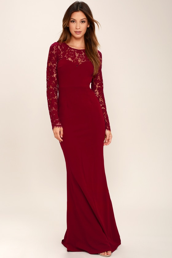 Whenever You Call Wine Red Lace Maxi Dress