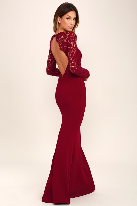 fcf6939c206 Lovely Wine Red Lace Dress - Maxi Dress - Long Sleeve Dress