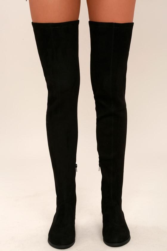 eccff51aee9 Rank Black Suede Thigh High Boots