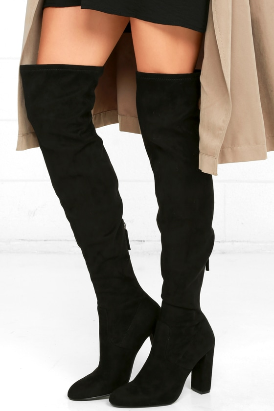 8a46eebc8 Steve Madden Emotions Boots - Black Over the Knee Boots - Suede OTK Boots -  $99.00