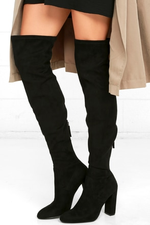 b788b3a36db Steve Madden Emotions Boots - Black Over the Knee Boots - Suede OTK Boots -   99.00