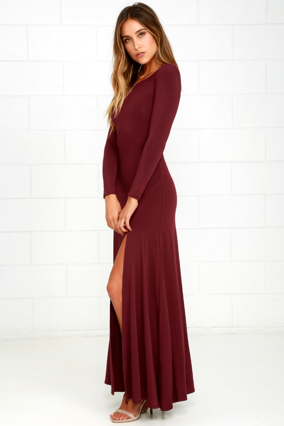 a200c640d5 Chic Burgundy Dress - Maxi Dress - Long Sleeve Dress