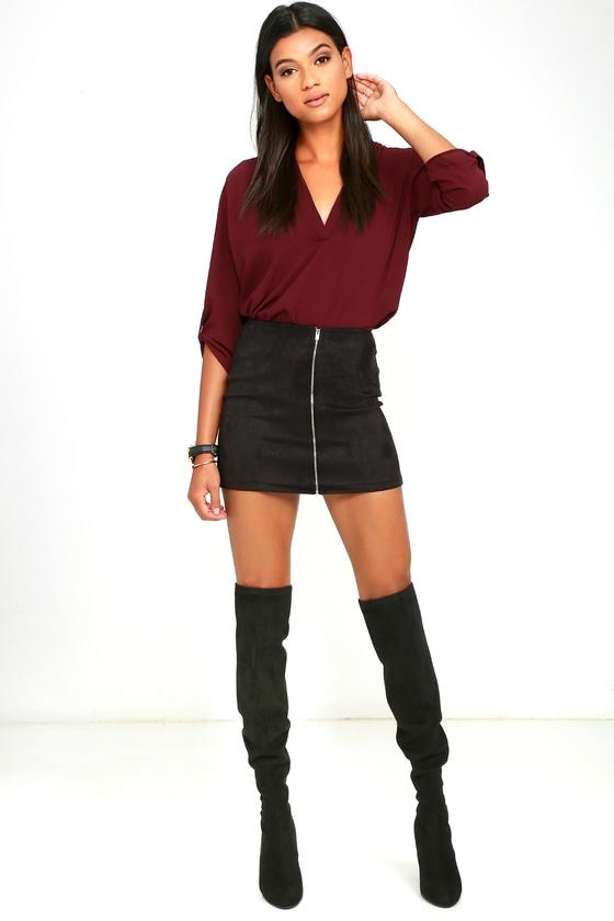f42af5ea5db Cool Black Skirt - Mini Skirt - Suede Skirt - A-line Skirt - $44.00
