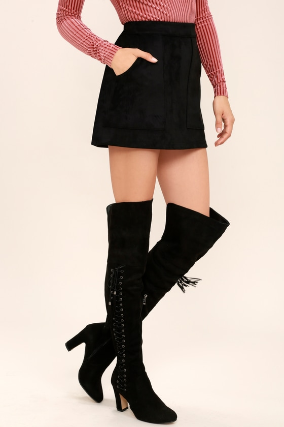 91a9eda73ca Sexy Black Over the Knee Boots - Suede OTK - Lace-Up Boots -  49.00