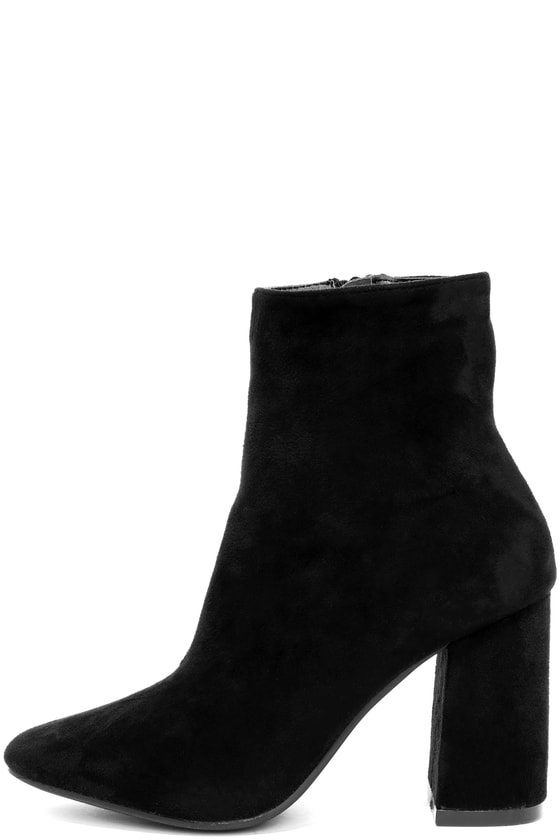 415df11b374 Stylish Black Suede Boots - Fitted Black Booties - Heeled Boots