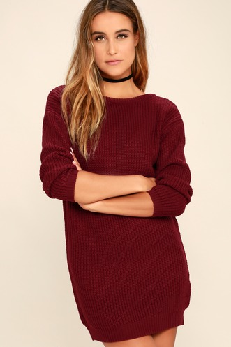 6cb7a01168 Bringing Sexy Back Wine Red Backless Sweater Dress