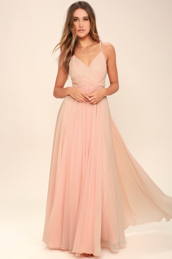 Lovely blush pink dress maxi dress gown bridesmaid for Blush wedding dress for sale