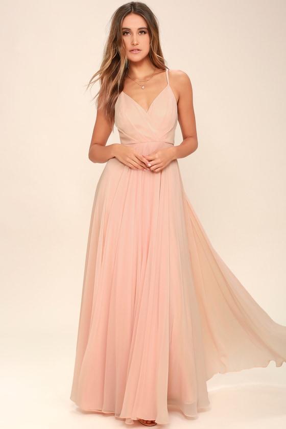 108ad1fea6797e Lovely Blush Pink Dress - Maxi Dress - Gown - Bridesmaid Dress