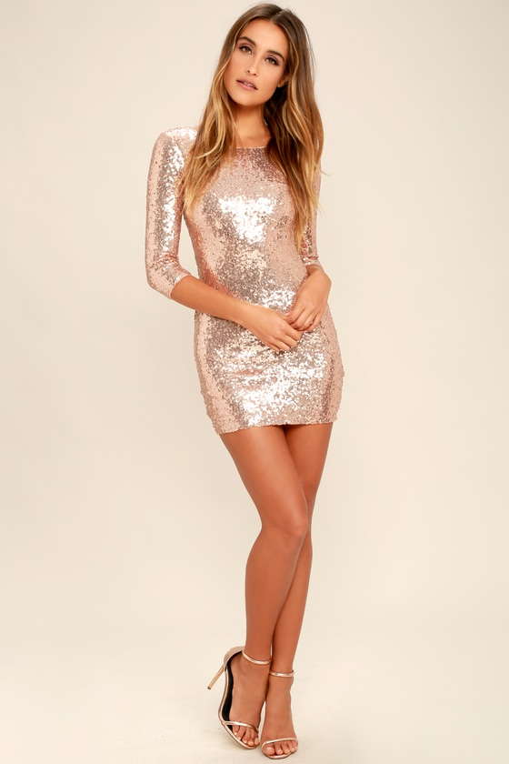 869f48fbbbe8 Sexy Rose Gold Dress - Sequin Dress - Bodycon Dress - $59.00