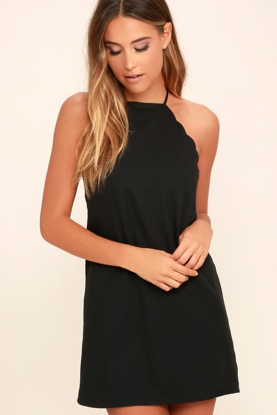 Sexy Black Dress Lbd Sleeveless Dress Scalloped Dress